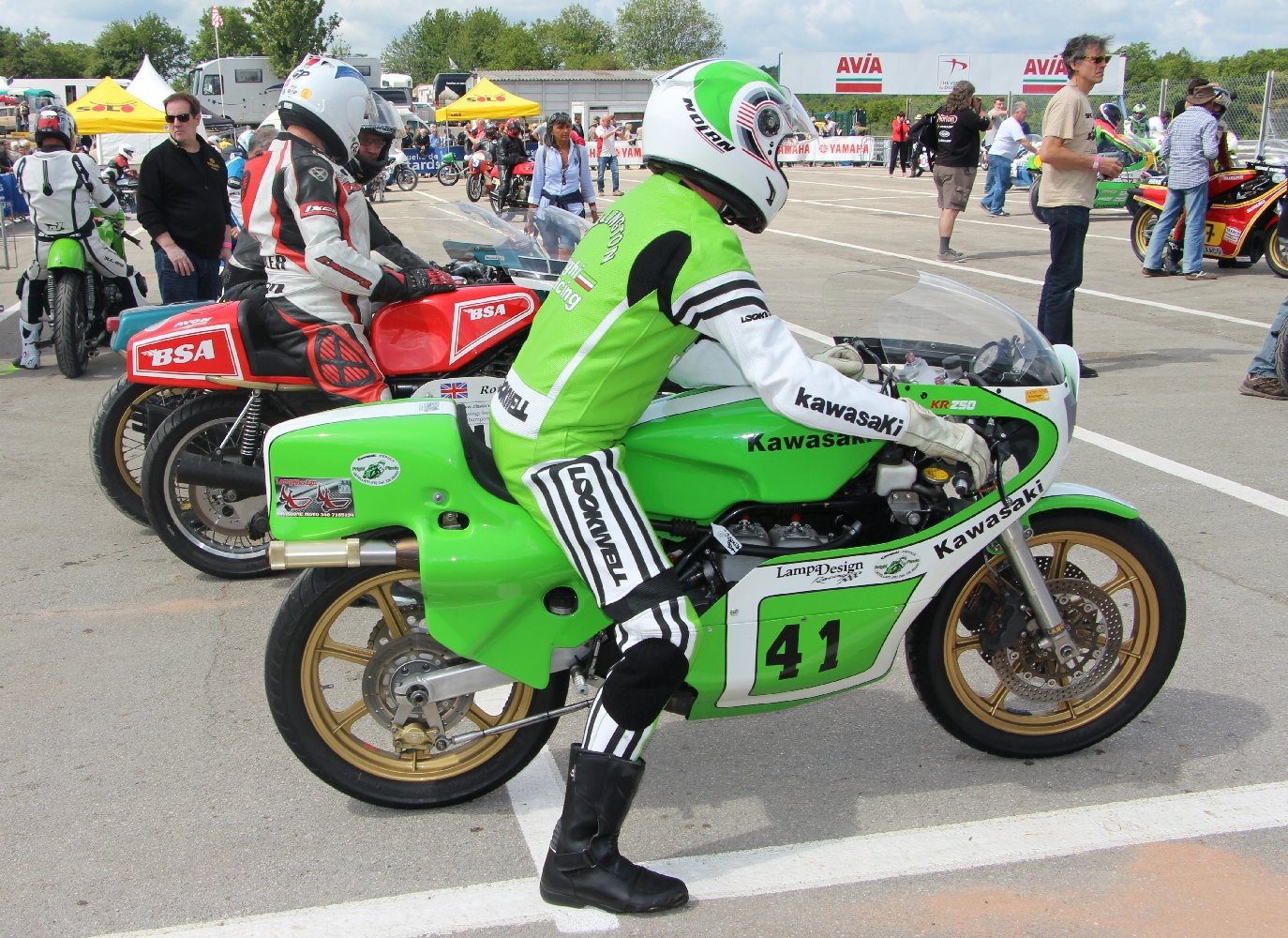 Kork on a KR250 at Coupes Moto Legende 2015