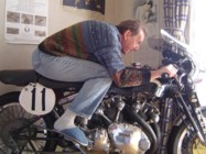 Reg going for it on his Vincent racer